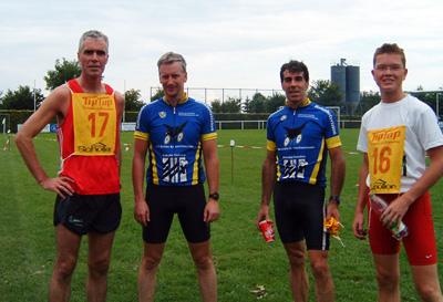 Das erfolgreiche Team beim 15. Cross-Duathlon (Günter, Thorsten, Herbert, Stefan)